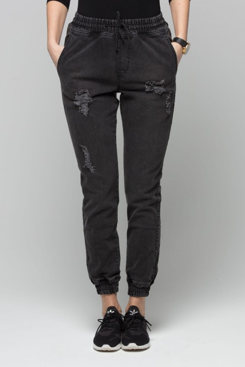 Jogger RM Jeans - Damskie - Ripped Black Jeans