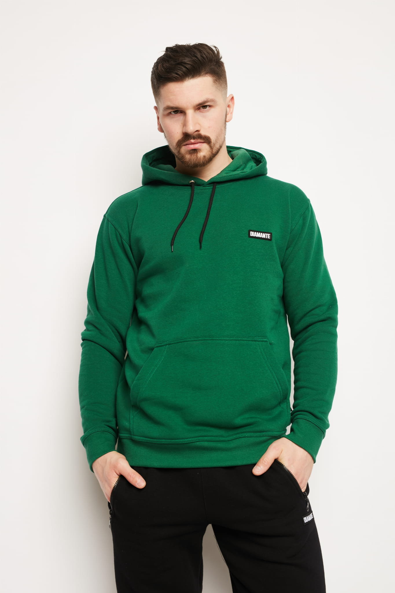 'Basic Bottle Green' - Hoodie Męska - Butelkowa Zieleń